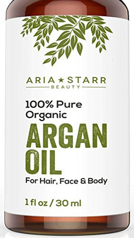Aria Starr Beauty Organic Argan Oil For Hair, Skin, Face, Nails, Beard &Amp; Cuticles - Best 100% Pure Moroccan Anti Aging, Anti Wrinkle Beauty Secret, Cold Pressed Moisturizer 1Oz
