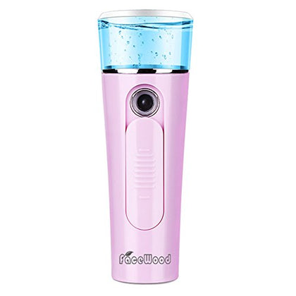 Facewood Handy Nano Face Mist Spray Facial Steamer For Hydrating Cool Eyelash Extensions Cleaning Pores Portable Atomization Humidifier Face.(Pink)