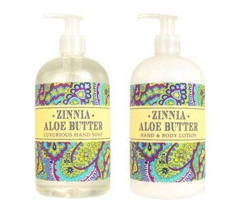 Greenwich Bay Trading Company Botanical Collection Bundle: Zinnia Aloe Butter - 16 Ounce Shea Butter Lotion & 16 Ounce Hand Soap