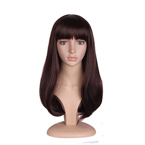 Mapofbeauty 20 Inch/50Cm Fashion Girl Natural Medium Length Curly Wigs Flat Bangs Wigs (Dark Brown)