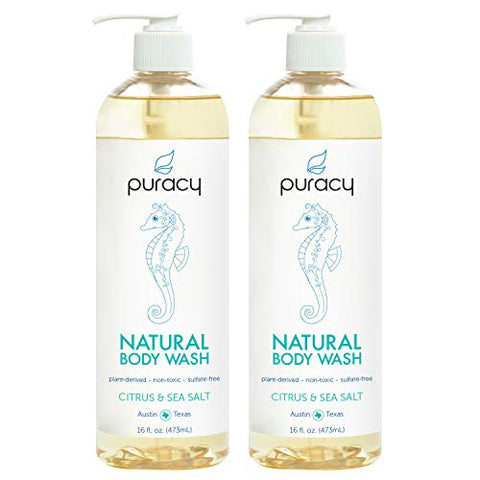 Puracy Natural Body Wash, Sulfate-Free Bath And Shower Gel, Citrus &Amp; Sea Salt, 16 Ounce