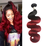 Ombre Brazilian Hair Body Wave One Bundles Grade 8A Two Tone Ombre Bundles Dark Red 1B Burgundy Virgin Human Hair Extensions 99J Body Wave Weave(12)