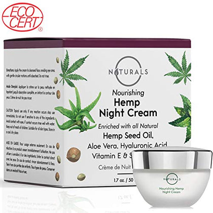 O Naturals Anti-Aging Night Cream Ecocert Certified Organic  With Hemp Oil + Hyaluronic Acid + Shea Butter + Vitamin E. For Face &Amp; Neck. Moisturizes &Amp; Repairs Skin. Treats Dry Skin &Amp; Redness 1.7 Oz