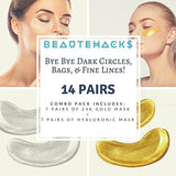 Beautehacks Under Eye Treatment Kit L 24K Gold Eye Masks + Hyaluronic Acid &Amp; Collagen Anti-Aging Under Eye Patches To Reduce Dark Circles, Puffy Eyes, Eye Bags, Fine Lines &Amp; Wrinkles