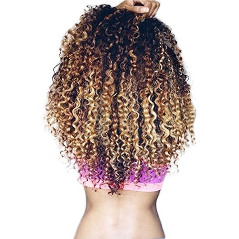 Ombre Curly Virgin Hair 3 Bundles Unprocessed Ombre Human Hair Bundles (12 14 16Inches) Deep Wave Weave Honey Blonde 3 Tone Ombre Brazilian Hair T1B/4/27#