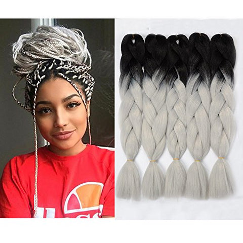 Vckovcko Ombre Braiding Hair Kanekalon Jumbo Braid Two Tone Ombre Color Hair Extension For Braiding Kanekalon Jumbo Box Braiding Hair 24 ,5 Bundles/Lot,Black-Light Gray