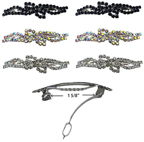 Set Of 6 Barrettes With French Clip Clasp And Sparkling Stones U86200-0927-6Jcab