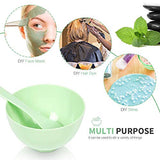 Face Mask Mixing Bowl Set, Teenitor Diy Facemask Mixing Tool Kit With Silicon Face Mask Brush Facial Mask Bowl Stick Spatula Gauges Puff, Green