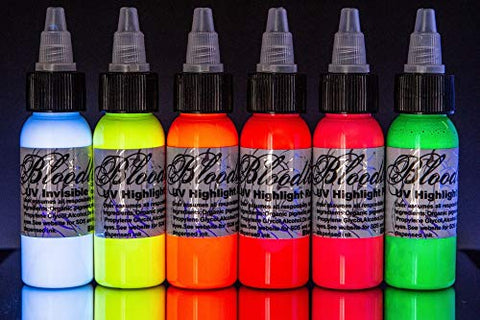 Bloodline 6 Color Tattoo Black Light Uv Ink Highlight Set (1/2 Oz)