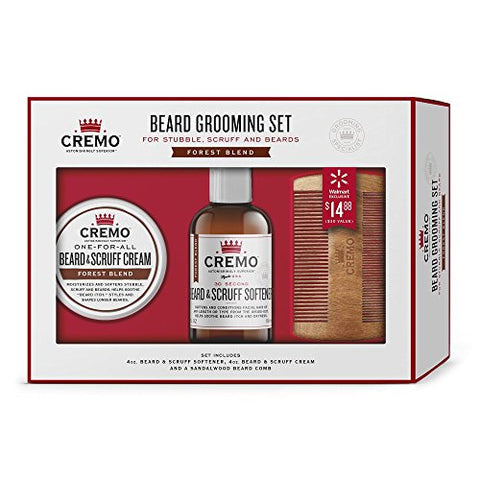 Cremo Beard Grooming Gift Set With Forest Blend Cream, Softener And Comb