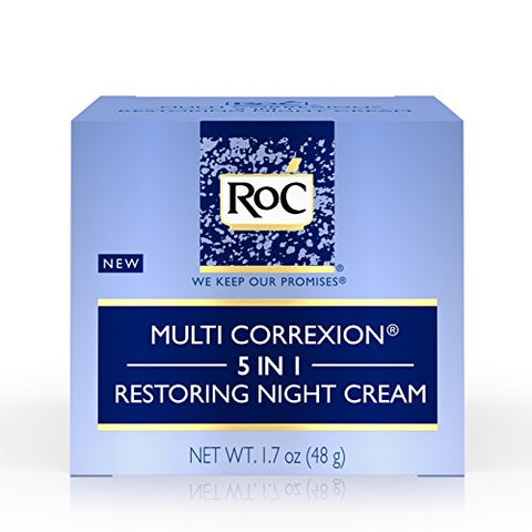 Roc Multi Correxion 5 In 1 Restoring Anti-Aging Facial Night Cream, Wrinkle Treatment For Face &Amp; Neck Made With Hexinol Technology, 1.7 Oz
