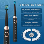 5 Modes Electric Toothbrush Sonic Rechargeable Toothbrushes For Kids, Adults And People With Braces, Waterproof Usb Toothbrush With Smart Timer And 4 Brush Heads, Black