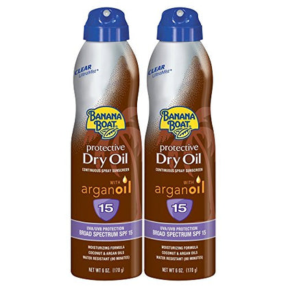 Banana Boat Sunscreen Protective Dry Oil Broad Spectrum Sunscreen Spray, Spf 15, 6 Ounce - Twin Pack