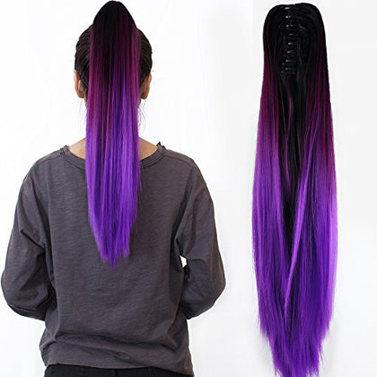 Neverland Beauty 20  Claw On Ombre Two Tone Synthetic Long Straight Ponytail Hair Extensions Natural Black To Violet Purple