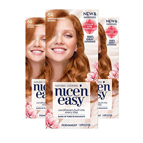 Clairol Nice 'N Easy Permanent Hair Color, 8R Medium Reddish Blonde, 3 Count, Red