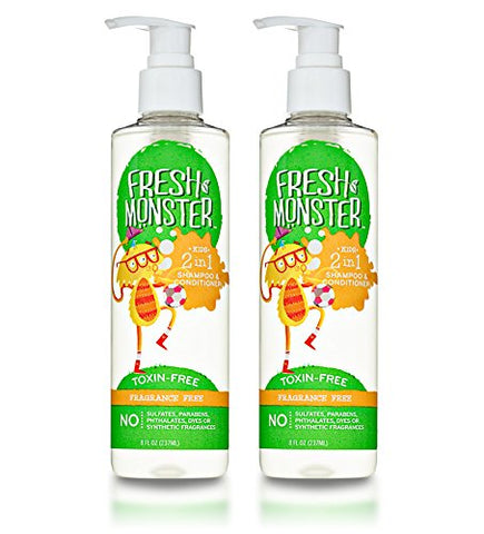 Fresh Monster Toxin-Free Hypoallergenic 2-In-1 Kids Shampoo &Amp; Conditioner, Fragrance Free, 2 Count, 8Oz.