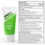 Sweatblock Antiperspirant Lotion For Hands &Amp; Feet, Proven To Reduce Excessive Sweating, Reduce Hand &Amp; Foot Sweat &Amp; Smelly Feet, Safe Effective, Fda Compliant Anti Sweat Lotion For Women &Amp; Men, 50Ml