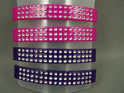 Purple Pink Barrette Set Pack 4 Plastic Curved Silver Sparkly Hair Clip 3 Long