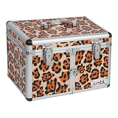 Jumbl Leopard Print Cosmetic/Jewelry Train Case