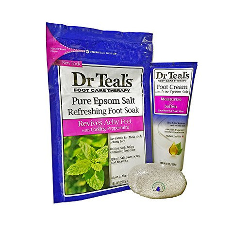 Dr. Teal'S Refreshing Foot Soak And Foot Cream With Flowing Stones Pumice Stone