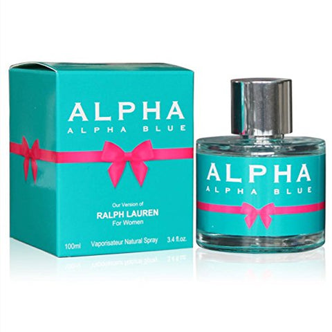 Alpha Blue, Our Inspiration Of Ralph Lauren, Eau De Parfum Spray For Women, Perfect Gift, Colorful Floral Fragrance, Daytime And Casual Use, For All Skin Types, 3.4 Fl Oz