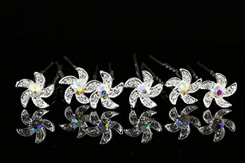 Set Of 6 Pinwheel Flower Hair Pins - Ab Crystals Silver Plated H101