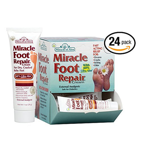 24- Piece Display Miracle Foot Repair Cream 1 Ounce Tube With 60% Ultraaloe