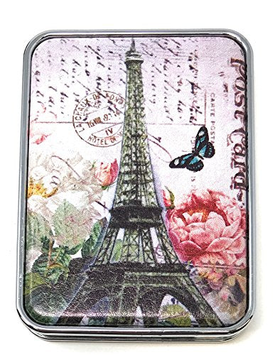 Value Arts Eiffel Tower Postcard Print Purse Compact Travel Makeup Mirror And Magnification, 3 Inches Long