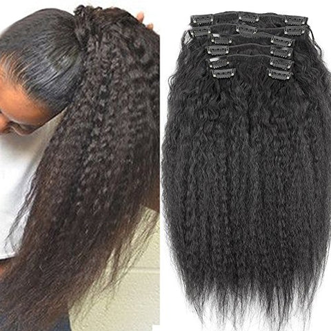 22Inch Clip In Human Hair Extensions Italian Coarse Yaki Brazilian Virgin Hair Clip In Hair Extensions Natural Hair Yaki Clip Ins 120Gram 7Pcs/Set