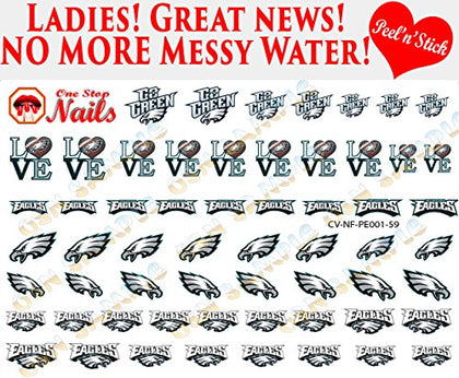 Philadelphia Eagles Clear Vinyl Peel And Stick (Not Waterslide) Nail Decals/Stickers V1 (Set Of 59)