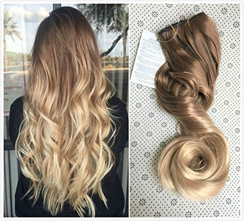 20 Inches Full Head Ombre Dip Dyed Loose Curls Wavy Curly Clip-In Hair Extensions 6Pcs Pack ( Light Brown To Sandy Blonde) Dl