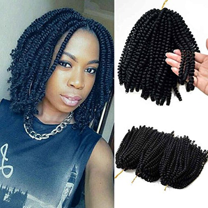Flyteng Spring Twist Hair For Braids Black 3 Pack/Lot Jamaican Bounce Crochet Hair Extensions Spring Twist Crochet Hair