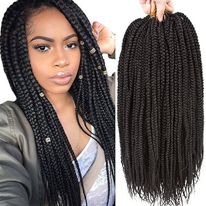 Vrhot 6Packs 18'' Box Braids Crochet Hair Small Synthetic Hair Extensions Dreadlocks Twist Crochet Braids Hairstyles Kanekalon Braiding Hair Braid Styles Long For Black Women 1B 18 Inch (18 Inch, 1B#)
