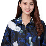 Kahot Professional Salon Hair Stylist Smock Jacket Cosmetology Uniform Zipper Cosmetology Uniform Collar Hairdressing Cape Hair Beauty Spa Guest Client Kimono Gown Pet Grooming Overalls(A036-Blue)