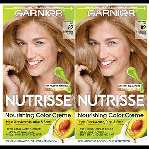 Garnier Hair Color Nutrisse Nourishing Creme, 82 Champagne Blonde (Champagne Fizz), 2 Count