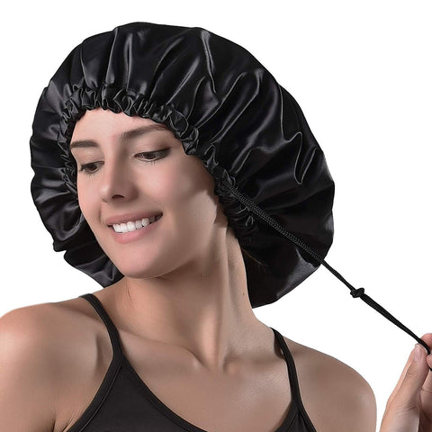 Yanibest Satin Bonnet Sleep Bonnet Cap - Extra Large, Double Layer, Reversible, Adjustable Satin Cap For Sleeping Hair Bonnet Black