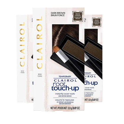 Clairol Temporary Root Touch-Up Concealing Powder, Shade Dark Brown, 3 Count