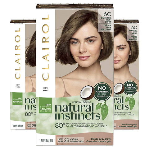 Clairol Natural Instincts, 6C Brass Free Light Brown, Brazilian Dusk, 3 Count