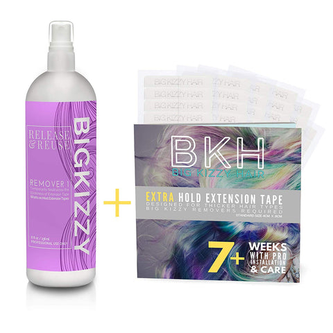 Big Kizzy Release & Reuse Tape Hair Extension Remover Tested & Proven Fastest & Easiest Remover + Extra Hold Hair Extension Tape 4Cm X .8Cm Fits Most