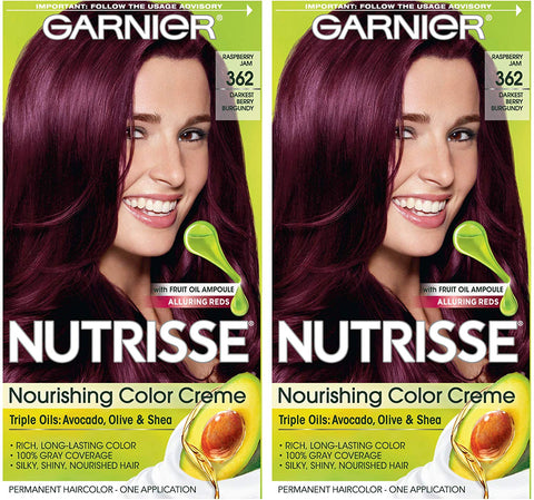 Garnier Nutrisse Nourishing Permanent Hair Color Cream, 362 Darkest Berry Burgundy (2 Count) Red Hair Dye