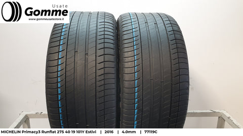 Pneumatici Gomme Usate MICHELIN Primacy3 Runflat 275 40 19 101Y Estive