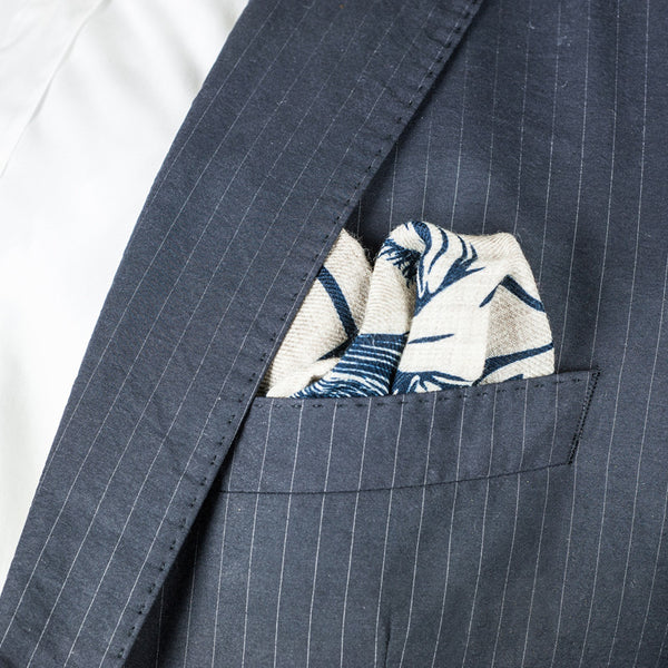 SANS N°034. 'THE C**'T LIST 002'. Pocket Square (print in navy)