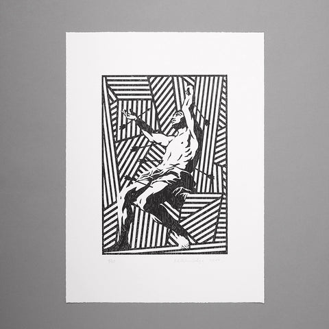 'St.Sebastian'. Woodcut Print (Black Edition)