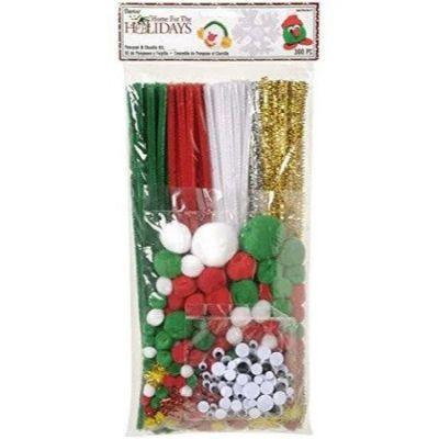 Christmas Poms & Stems 300 Pack - Assorted