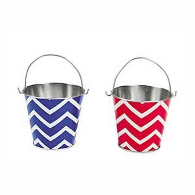 Chevron Tin Bucket - Red or Blue