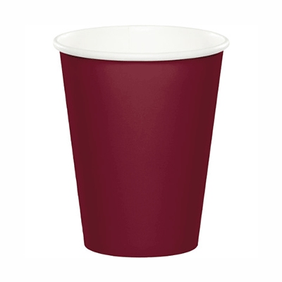 Burgundy Red Paper Cup 9 oz. - 24 Pack