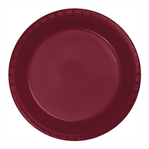 "Burgundy Red Plastic Dinner Plate 10"" - 20 Pack"
