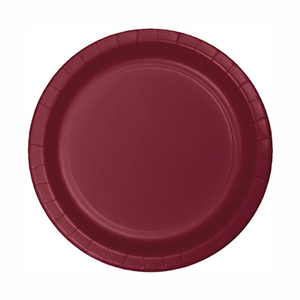 "Burgundy Red Paper Dinner Plate 8"" - 24 Pack"