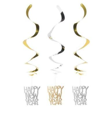 Hanging Swirl New Year's Decoration - Silver/Gold 3 Pack