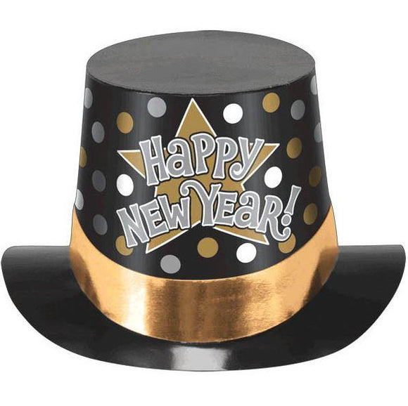 Happy New Year! Party Top Hat - Gold Band
